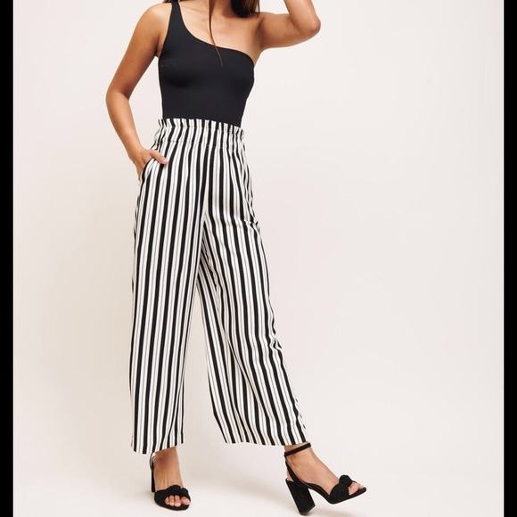 Dynamite Stripped Linen Culotte Pants